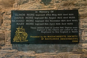 Plaque in the old church at Shipton, Shropshire, commemorating the More children who travelled on the Mayflower in 1620