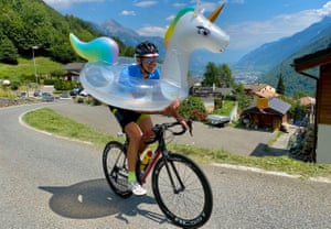 Swiss cycling guide Christian Paul borrows a float-toy from a chalet on the hill loop which will be used on the 2020 world road championships in September.