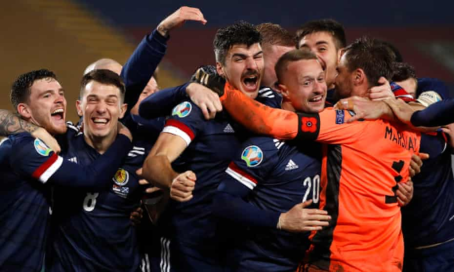 Scotland celebrate after qualifying for Euro 2020 by beating Serbia on penalties