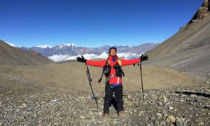 Sandeep Poudyal at Thorong La pass, the highest point on the Annapurna circuit trek in Nepal.