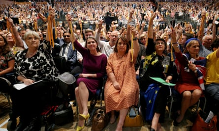 Jo Swinson (centre left) and Lib Dem colleagues vote during the Liberal Democrats autumn conference in Bournemouth