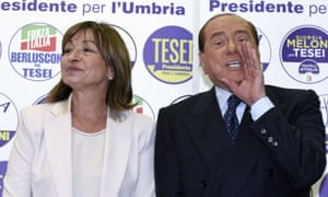 Former Italian PM Silvio Berlusconi endorses Donatella Tesei during campaigning in the Umbria elections. The state broadcaster's exit poll points to a victory for Tesei.
