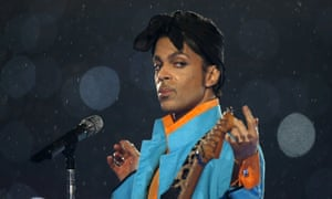 Prince performs during the halftime show of the NFL's Super Bowl