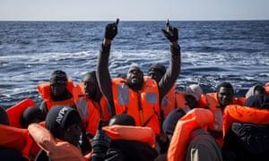Migrants rescued in the Mediterranean north of Libya.