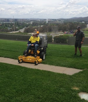 Capalaba man Joshua Ball always had a dream of mowing the Parliament House lawns and the Endeavour Foundation made it happen