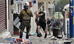 2011: Protesters clashing with riot police in Greece during the post-crash financial crisis.