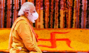 India's prime minister Narendra Modi performs a religious ritual during the ground breaking ceremony of a grand Hindu temple in Ayodhya.
