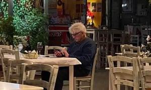 Stanley Johnson in a taverna in Greece on 2 July.