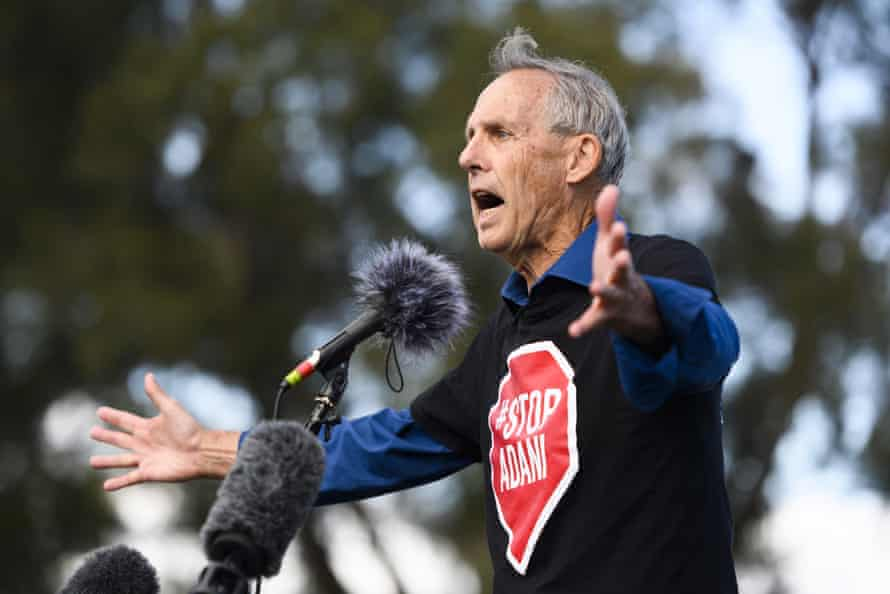 Bob Brown addresses an anti-Adani rally outside Parliament House in Canberra on Sunday.