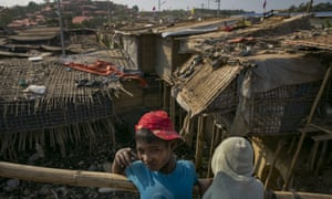Makeshift housing in the Cox's Bazar refugee camp