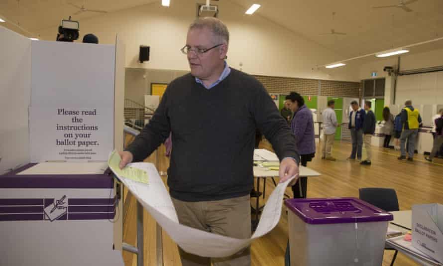 Scott Morrison with his Senate voting form