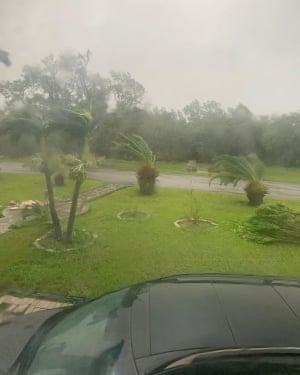 Hurricane Dorian, seen from the family home of Kimberley Mullings, in the Bahamas, on Tuesday.