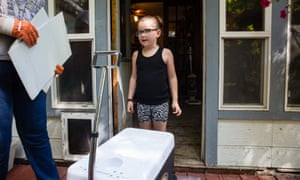 Brynlee Watkins, six, in Weiser, Idaho. She plans to sell water from a wagon during the total eclipse.
