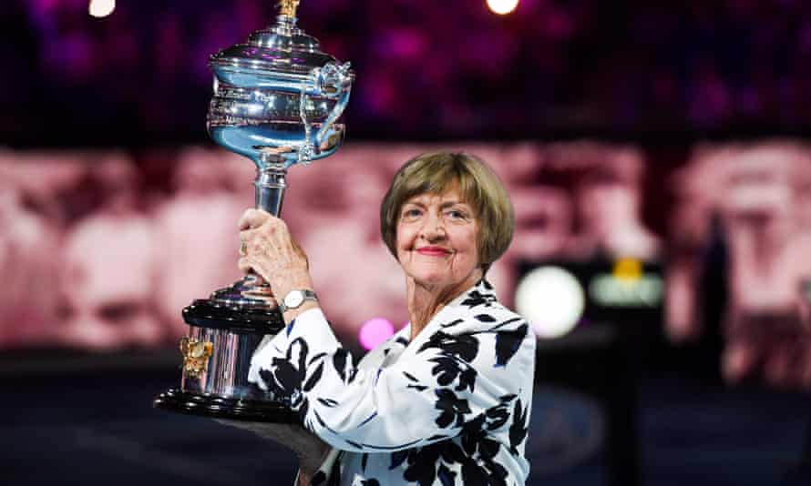 Margaret Court poses with an Australian Open trophy