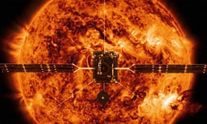 Solar Orbiter spacecraft against the backdrop of an image of the sun captured by NASA's Solar Dynamics Observatory.
