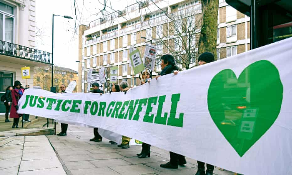 Protesters outside Grenfell Tower inquiry