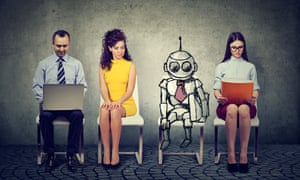 Cartoon robot sitting in line with applicants for a job interviewK9BC6M Cartoon robot sitting in line with applicants for a job interview
