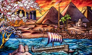 Panel D-2 from the Roots of Knowledge project includes depictions of Stonehenge, a camel caravan and the pyramids of Giza