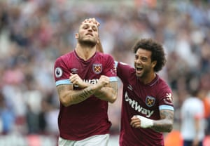West Ham's Marko Arnautovic celebrates with Felipe Anderson after scoring from the penalty sport against Bournemouth at the London Stadium.