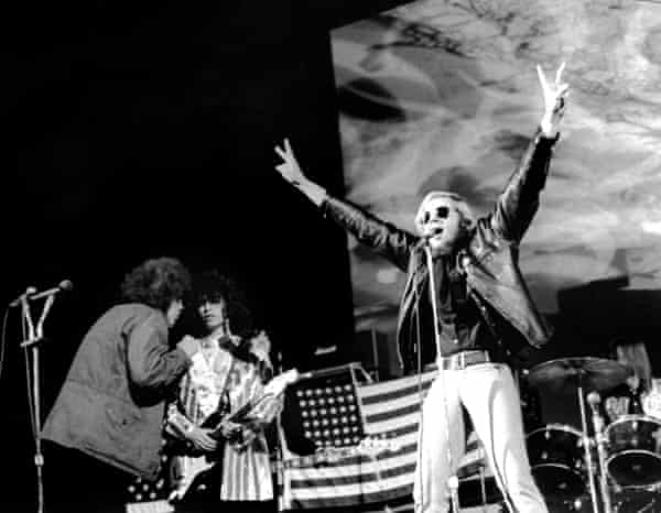 Wayne Kramer, Fred 'Sonic' Smith, Brother JC Crawford and Dennis 'Machine Gun' Thompson perform at Detroit's Ford Auditorium in 1969.
