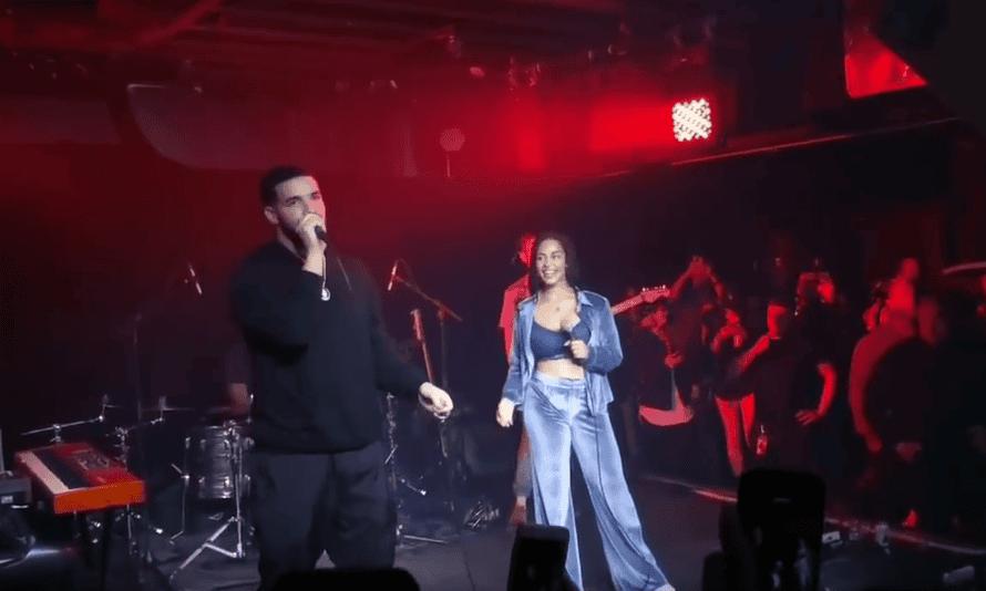 Forgot about Drake: Jorja onstage with Drake in Toronto.