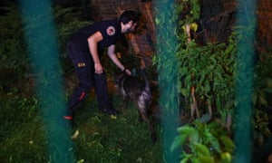 Turkish police search the back garden of the residence of the Saudi consul in Istanbul.