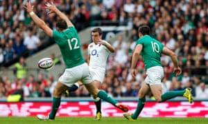 England fly-half George Ford kicks against Ireland.