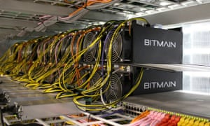 Bitcoin mining computers are pictured in Bitmain's mining farm near Keflavik, Iceland.