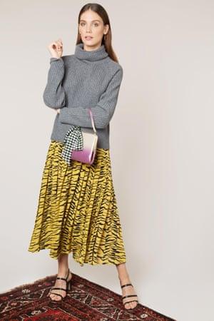 Tina mustard tiger midi skirt with slit, £235, Rixo