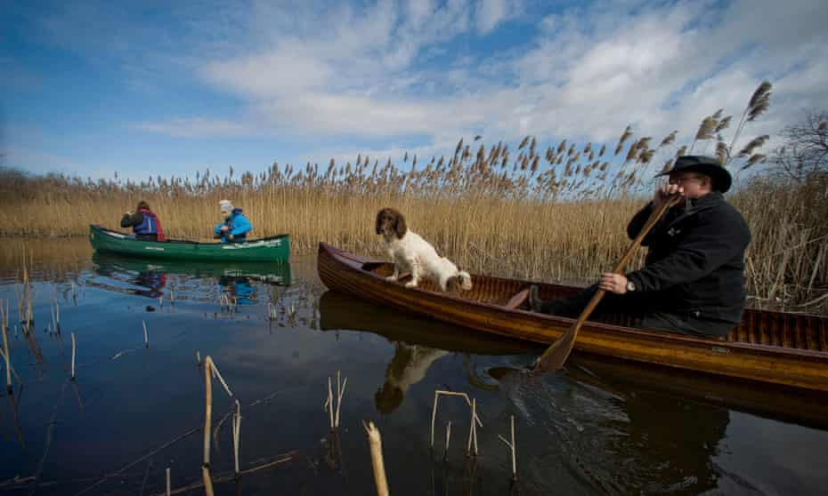 Mark Wilkinson (right) on the Broads.