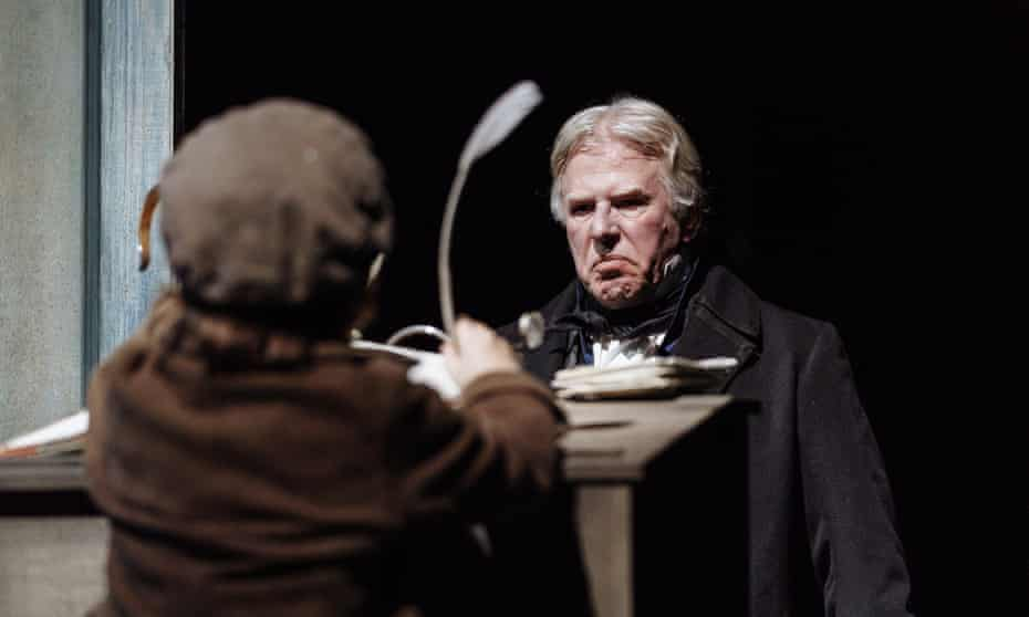 Phil Davis as Scrooge in A Christmas Carol at the Royal Shakespeare theatre, Stratford-upon-Avon.