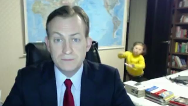 BBC interviewee interrupted by his children live on air – video