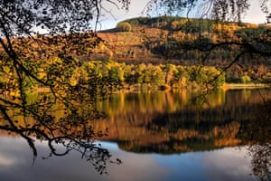 Autumn colours and frost surround Loch Tummel