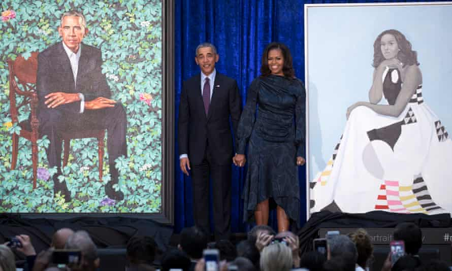 Portraits of Barack and Michelle Obama