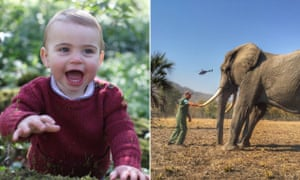 Prince Louis (left) taken by his mother, the Duchess of Cambridge, and a wildlife photograph by Prince Harry.