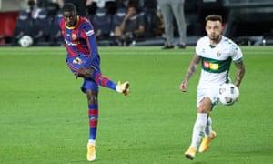 Ousmane Dembélé (left) in action during the Joan Gamper Trophy match between Barcelona and Elche CF on 19 September.