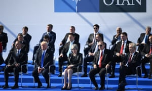 World leaders meet for the Nato summit ceremony on Thursday in Brussels, Belgium.