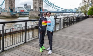 Vivian Cheruiyot and Mary Keitany before the 2019 London marathon.