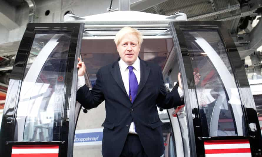 Boris Johnson at the opening of the cable car across the Thames operated by Emirates