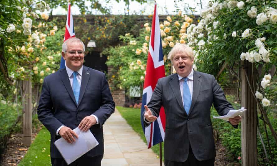 Boris Johnson met with the Australian prime minister, Scott Morrison, in the garden of 10 Downing Street.