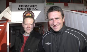 Will Brookes (left) with Liam Daish, the Ebbsfleet United manager at the time of the takeover.