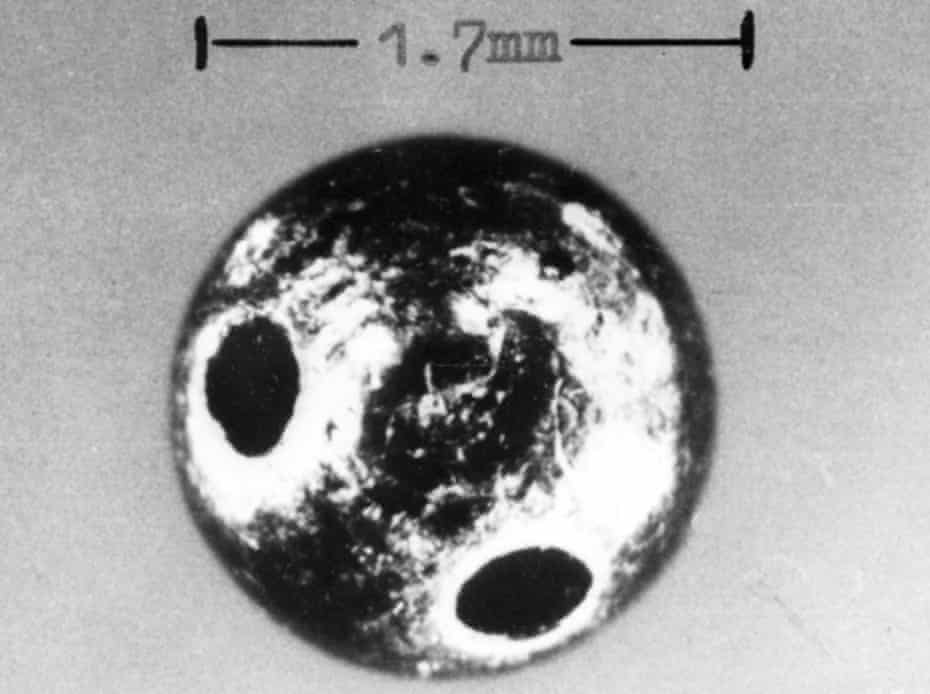 The tiny ricin-laced 'bullet' fired by an umbrella into Bulgarian defector and BBC broadcaster Georgi Markov, in 1978.