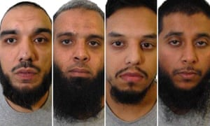 Tahir Aziz, Naweed Ali, Mohibur Rahman and Khobaib Hussain (left to right) who have been found guilty of preparing terrorist acts following a partly-secret trial at the Old Bailey.