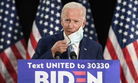 Joe Biden at an event in Dover, Delaware, on 5 June. Trump campaign officials are hoping to draw a contrast between the two candidates around the optics of masks and social distancing.