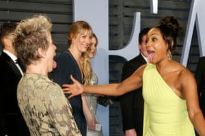 Frances McDormand and Tiffany Haddish greet each other as they arrive for the Vanity Fair party
