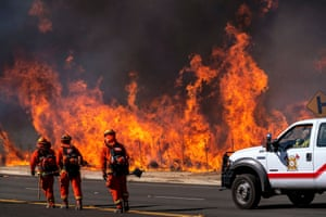 Fighting the Easy fire in California's Simi Valley.