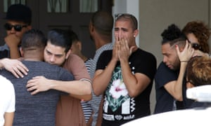 Mourners leave the funeral service for Anthony Luis Laureano Disla, 25, a dancer and choreographer from Puerto Rico.