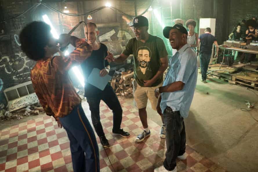 Veteran critic, author and film-maker – and The Get Down's supervising producer – Nelson George (in green) on set.
