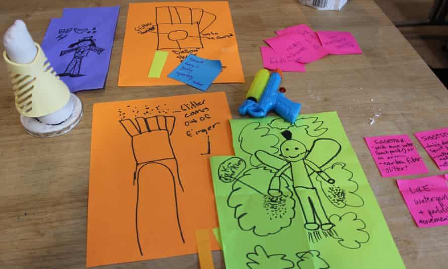 Children's designs for their superhero prosthetic.