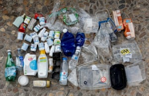 One week's worth of plastic waste, used and collected in Madrid, Spain.